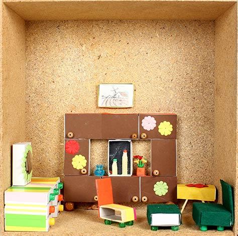 puppenhausm bel aus streichholzschachteln basteln im. Black Bedroom Furniture Sets. Home Design Ideas